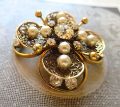 Vintage Gold Filigree Flower Brooch Rhinestone Center Pearls Wire Bead Pistils Layered w/ Petals Rhinestones Statement Brooch 2 1/4 inches