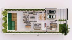O projeto desta residência foi pensado na integração entre seus moradores. Com uma área social que conta com sala de tv, sala de jantar, escritório, lavabo e cozinha na parte interna também possui o lazer e conforto da área gourmet e piscina para desfrutar de bons momentos ao lado de amigos e familiares. Na parte íntima da casa encontramos dois quartos com bom espaço interno e um banho social. A suíte master com closet, banho e sacada finalizam a apresentação deste projeto. Casas The Sims Freeplay, House 2, House Plans, Floor Plans, Layout, Architecture, Emerson, Home, Anna