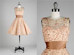 Vintage 1950s Dress . Jonny Herbert . Embroidered Metallic Tulle . Satin . Copper . Illusion Bodice . XS/S . 1567. $185.00, via Etsy.