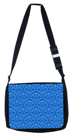 Blue inverted Damask Rosie Parker Inc. TM Medium Sized Laptop Messenger Bag 11.75' x 15.5' *** You can get additional details at the image link. (This is an Amazon Affiliate link and I receive a commission for the sales)
