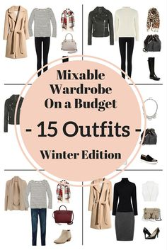 mixable-wardrobe-on-a-budget-15-outfits-winter.jpg 735×1,102 pixeles