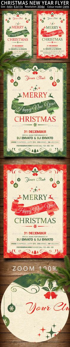 Christmas New Year Party Flyer And Poster Template PSD