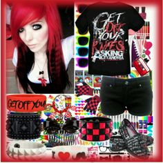 Red and Black Emo/Scene Outfit
