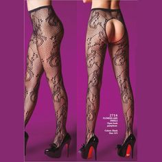 Get this #Flowers and #swirls #black open back pantyhose for only $19.00   #stretch #lace #flowers #onesize #seductive #lingerie #sexy #passion #printed #perfection #bras #sexiness #freeshipping #klynn #klynnlingerie