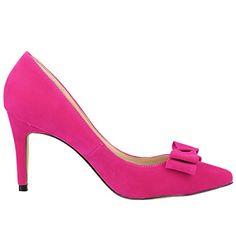 Zbeibei Women's High Heels Pointed Toe Cute Bowknot Faux Velvet Pumps(ZBB95219VE40rose) - http://all-shoes-online.com/zbeibei/9-b-m-us-zbeibei-womens-high-heels-pointed-toe-cute-34