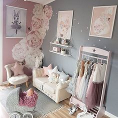 The most darling of rooms for a little girl! It's hard to go wrong with a blush pink + grey colour palette Thanks @mamma_malla for using our removable peony wall decals in your little ones space! #removable #reusable