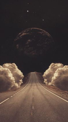 Jasmine Surreal Art Collage Road Clouds Planet iPhone 6 Wallpaper
