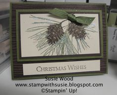 Stampin' Up!- Check out the sparkle on this 'Ornamental Pines' easel card!