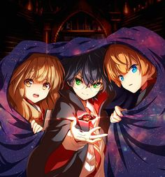 Harry Potter, Hermione Granger and Ron Weasley drawn in an anime-style with the Sorcerer's Stone / Philosopher's Stone Harry Potter Tumblr, Harry Potter Anime, Harry Potter Fan Art, Cute Harry Potter, Mundo Harry Potter, Harry Potter Drawings, Harry Potter Images, Harry Potter Universal, Harry Potter Fandom