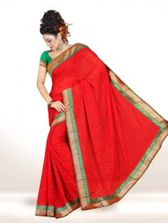 Red Jacquard Saree with Lace Work