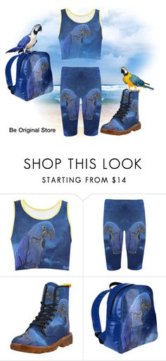 #fashionset  Hyacinth Macaw, cropped leggings, crop top, backpack, boots for women. Design by #erikakaisersot . For more visit #beoriginalstore  https://www.beoriginalstore.com/collections/hyacinth-macaw