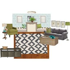 """""""Leslie's Living Room wallpapered"""" by drury on Polyvore"""