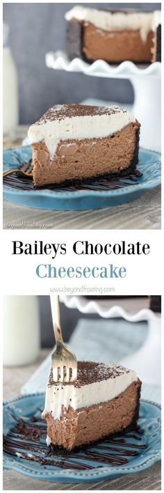 This Bailey's Chocolate Cheesecake only requires a few simple ingredients. Silky chocolate cheesecake is infused with Bailey's Irish Cream liquor and topped with a Bailey's Whipped Cream! Fun Desserts, Dessert Recipes, Fondant, Chocolate Cheesecake Recipes, Melted Chocolate, Chocolate Cake, How Sweet Eats, Cupcake Cakes, Cupcakes