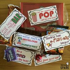 Candy and Snack Motivational Test Phrases Employee Appreciation Gifts, Teacher Appreciation Week, Student Gifts, Teacher Gifts, Testing Treats For Students, Candy Grams, Test Day, Student Motivation, Diy Gifts
