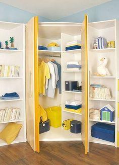 Corner closet kids walk in 55 trendy Ideas Corner Wardrobe, Kids Wardrobe, Wardrobe Design, Corner Closet Organizer, Closet Organization, Organization Ideas, Kid Closet, Room Closet, Closet Drawers