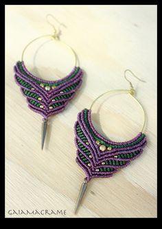 Macrame hoop gypsy earrings, unique tribal jewelry, festival pixie earrings