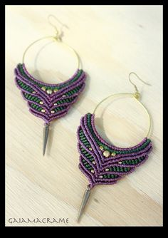 Beautiful Tribal macrame hoop earrings, Unique gypsy festival earrings*  made with brass beads, wax strings and more magic :)    ~*~MADE TO ORDER-