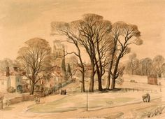 Long Melford Green on a Frosty Morning, Suffolk 1940, by SR Badmin