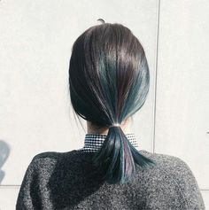 #hair blue grey alternating wide highlights