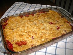 Apple, Pear, and Cranberry Crisp. (made with fresh cranberries) Serve with fresh whipped cream or vanilla ice cream.  (Ina Garten's Recipe on foodnetwork.com)