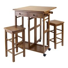 Winsome Wood 39330 Space Saver Kitchen Cart, Teak, love the hidden stools for a small kitchen Portable Kitchen Island, Small Kitchen Tables, Kitchen Island Table, Kitchen Island With Seating, Kitchen Sets, Small Tables, Kitchen Cart, Kitchen Islands, Square Kitchen