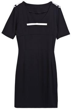 Vestido charreteras cuello pico mangas cortas-Negro EUR€24.18