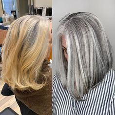 This client came to me to blend and match her golden blonde hair with her natural salt and pepper 4 inches roots. Grey Blonde Hair, Golden Blonde Hair, Long Gray Hair, Silver Grey Hair, Dyed Gray Hair, Grey Hair Roots, Lilac Hair, Silver Color, Pelo Color Plata