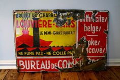 Colourful vintage Belgian metal sign by theUniqueMagpie on Etsy