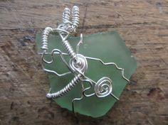 OOAK Wire Wrapped Pastel Green Sea Glass Pendant by TheWhitStop, $22.00