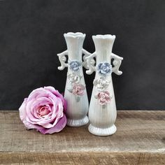 Porcelain Vases - Light Blue Opalescent Pearl - Sculpted Flowers - Vintage China by TheCherryAttic on Etsy