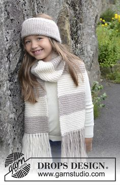 """Knitted DROPS head band and scarf in garter st in """"DROPS ♥ YOU #4"""" or """"Nepal"""". Size 3 - 12 years. ~ DROPS Design"""