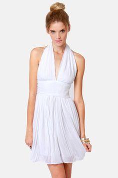 White Halter Dress - White Embroidered Halter Asymmetrical Hem ...
