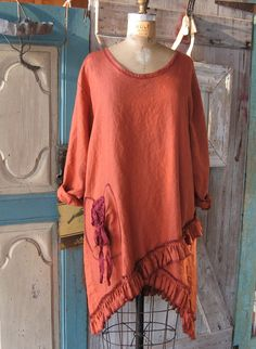 linen tunic with ruffles in rust orange by linenclothing on Etsy, $145.00