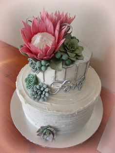 Protea Birthday Cake - cake by gailb