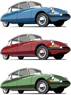 Citroen Ds, Old Fashioned Photos, Old Fashioned Cars, Automobile, Car Illustration, Bike Design, Flat Design, Design Design, Car Posters