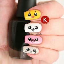 Cute kawaii nails... Simple too