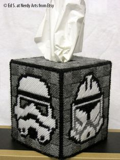 Star Wars Stormtrooper Tissue Cover/// Check out our blog for lots of Star Wars gift ideas /// #starwars #starwarsgift #maythefourthbewithyou #starwarsbirthday #christmaspresent #tissues #tissuecover #stormtrooper #crossstitch #needlepoint maythefourthbewithyoupartyblog.com