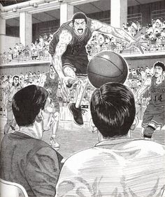 Slam Dunk, by Takehiko Inoue.  This drawing conveys all the energy and dynamism that belongs to a basketball match.