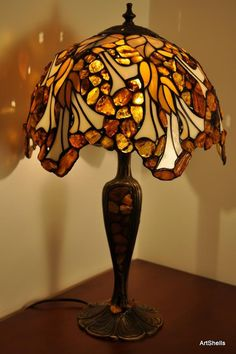 Tiffany OFF! Big Ball spherical amber lamp made Tiffany by SilverAmberArtGifts Stained Glass Table Lamps, Tiffany Stained Glass, Tiffany Glass, Stained Glass Projects, Stained Glass Art, Antique Lamps, Vintage Lamps, Chandeliers, Chandelier Design