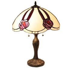 2 Light Tiffany Style Stained Glass Table Lamp Handcrafted Vintage Accent Shade #SerenaDitalia #Vintage