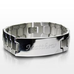 This stainless steel men's ID bracelet can be personalised with any name up to 15 characters.   Steel is the material for an 11th Wedding Anniversary and this ID Bracelet would make the perfect gift!  The bracelet measures 8.5 inches long and comes presented in a stylish gift box.