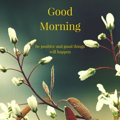 Good Morning. Be positive and good things will happen.