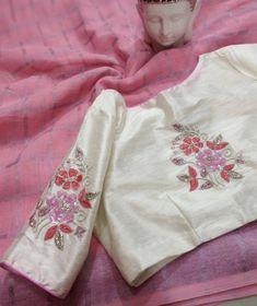 Simple Saree Blouse Designs, Half Saree Designs, Simple Sarees, Bridal Blouse Designs, Blouse Neck Designs, Blouse Patterns, Simple Embroidery, Hand Embroidery Designs, New Kurti Designs