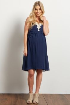 Navy Blue Crochet Neck Chiffon Maternity Dress