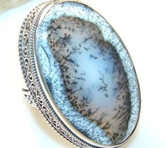 Jumbo! Passionate Dendric Agate Sterling Silver Ring s. 8 1/2
