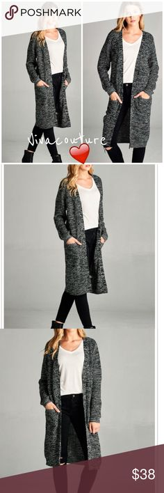New Marled Long Cardigan Marled black cardigan with two side pocket details perfect for layering . NWOT . Soft knit blend . Vivacouture Sweaters Cardigans
