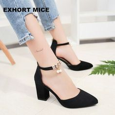 Hot Selling 2018 Side with Summer Women Shoes Pointed Toe Pumps Dress Shoes High Heels Boat Shoes Wedding Shoes tenis Feminino - zapatos - Damenschuhe High Heels Boots, Low Heel Shoes, Black High Heels, High Shoes, Black 7, Prom Shoes, Wedding Shoes, Dress Shoes, Dress Outfits