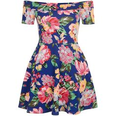 New Look Teens Blue Floral Print Bardot Neck Skater Dress ($23) ❤ liked on Polyvore featuring dresses, blue pattern, print skater dress, floral fit and flare dress, blue short sleeve dress, short-sleeve dresses and floral dress