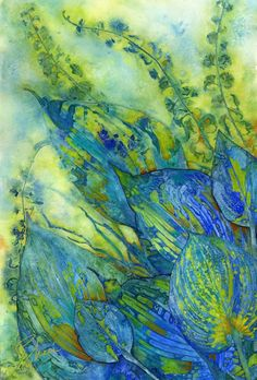 "Mixed Media Artists International: Contemporary Botanical Watercolor Collage, ""Hostas Following the Sun"" by Montana Artist Sheri Trepina"
