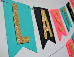 Last Fling Before The Ring Bachelorette Party Banner Decor Pink Teal and Black Gold Glitter by PopFizzHooray on Etsy